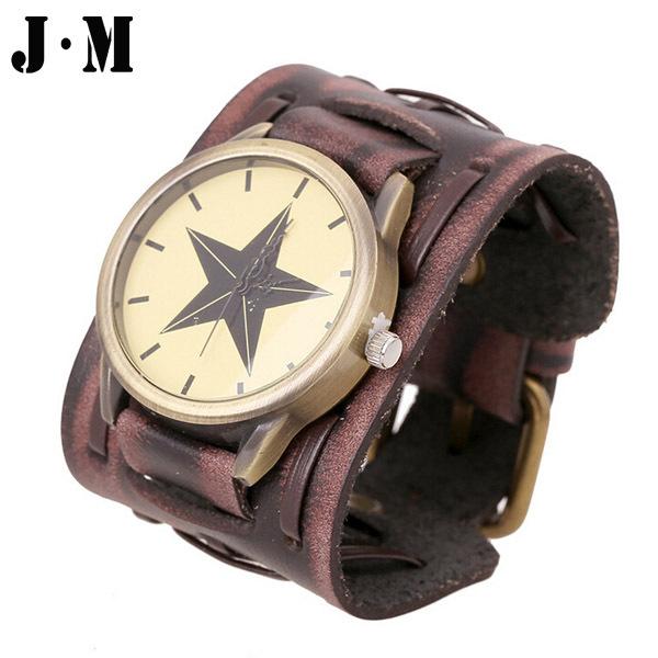 J&M- HOT Vintage Mens Wristwatch Genuine Cow Leather Wristband Cuff Bangle Luxury Wide Belt Bracelet Watch For Men reloj hombre(China (Mainland))