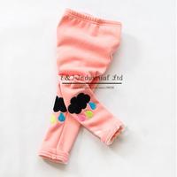 New Fashion Girls Leggings Colorful Cotton Cloud Embroidery Kids Pants Children Wear Free Shipping PT41120-13^^EI