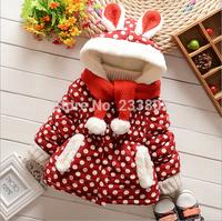 2014 children new winter cotton-padded jacket,lovely rabbit ears dot girls cotton-padded jacket,add more wool coat winter jacket