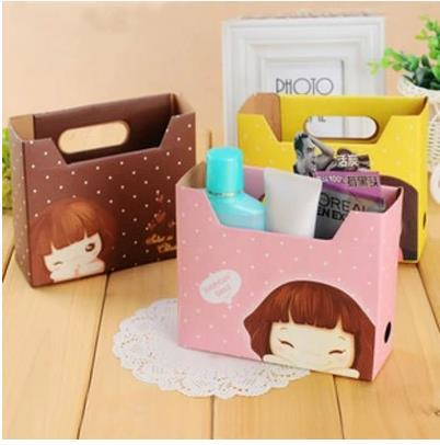 cartoon girl printed office stationery desktop holder box/cosmetic storage box stationery small makeup box case 10pcs/lot ARC753(China (Mainland))