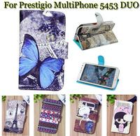 Luxury Cell Phone Accessories print cartoon Case flip pu leather case for Prestigio MultiPhone 5453 DUO,gift