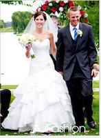 100% Real Photos Fashionable sweetheart mermaid wedding dress features ruffle bodice on satin skirt  dd7