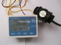 """Digital LCD Quantitative Water Flow Controller Flowmeter Counter + G1"""" Flow Sensor Meter"""