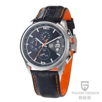 2015 новый Pagani дизайн хронограф секундомер световой часы один календарный спортивный кожаный часы мужские рождественский подарок PD-3306
