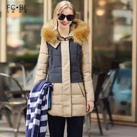 Fashion women's 2014 winter cotton-padded jacket large fur collar color block slim thickening Women medium-long down coat