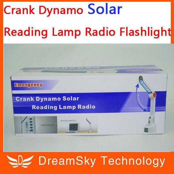 5pcs Crank Dynamo Solar Reading Lamp Radio Flashlight with FM Radio and Cell Phone Charger,Powered by Solar/Crank dynamo XLN-609(China (Mainland))