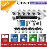 Wireless WIFI Security Network IP Infrared Camera System 8CH 1.0MP 720P NVR KIT for Home and Office