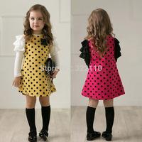 2015 Autumn Baby girl dress Polka dot dresses Long sleeve vestido High quality Bowknot Kids Casual dress