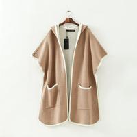 European Brand Designer Women Boutique Outerwear Khaki Short Sleeve Lady Big Pockets Coats with Hat NAS3882