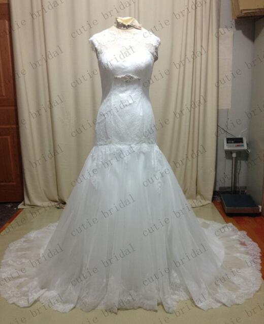 Custom Made Basque Lace Bridal Dresses Appliqued Trumpet Chapel Train Real Photo Wedding Dresses(China (Mainland))