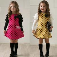 2015 Summer Fashion Baby girls Polka dot Long sleeve dress Kids Bowknot dresses 100-140cm Casual dress