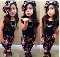 Retail 2015 new arrive baby girls  summer set with headband 3 pcs set cloth set girls clothing suit children clothing set