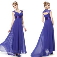 Hot Sale 2014 V-neck Floor-Length Evening Dress back hollow out Empire A-Line Chiffon Sexy Long Evening Dresses zy007