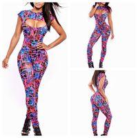 2015 Bodycon fashion full-body print jumpsuit set high quality bandage bodysuit women yh6017