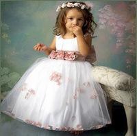 High quality,Flower girl dresses Children dresses Kids wedding party dress baby girls' dresses white