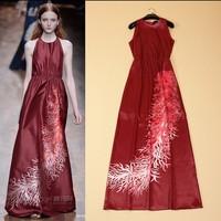 New Arrival 2015 Women's O Neck Sleeveless Printed Elastric Waist Elegant A Line Long Runway Dresses