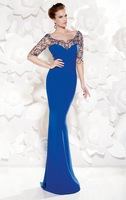 2015 New Fahion Elegant Exquisite Prom Dress Mermaid Sweetheart Backless With Sheer Beading Evening Dress zy1039
