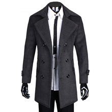 sion models Mens 2014 autumn and winter men's men's double breasted jacket coat thickening in male long windbreaker coat(China (Mainland))