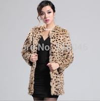z89 New arrive Russia women real rabbit fur coat jacket plus size leopard printed overcoat ladies coats warm vintage jackets
