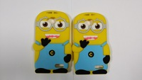 3D Cute Cartoon Lovely Despicable Me2 Minions Soft Silicone Cover Back Case For Alcatel One Touch idol mini ot6012 OT-6012D