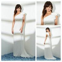 Fall Winter Handmade Beads One Shoulder Wedding Dresses 2014 China Custom Made White Chiffon zy1152