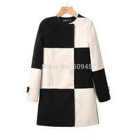 New 2014 Brand Fashionable Women Black&White Plaid Print Long Woolen Coat Jacket European Autumn Winter Women's Clothing