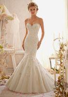 2014 Fall Winter Beaded Flower Sweetheart Open Back Ivory Mermaid Wedding Dresses Bridal Gowns zy1165
