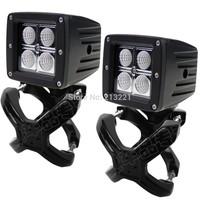 12-24v 2x 16W Cree Led driving head fog light + 2x X-Clamp Mounts brackets for Car Truck ATV SUV Offroad Spotlight Led worklight