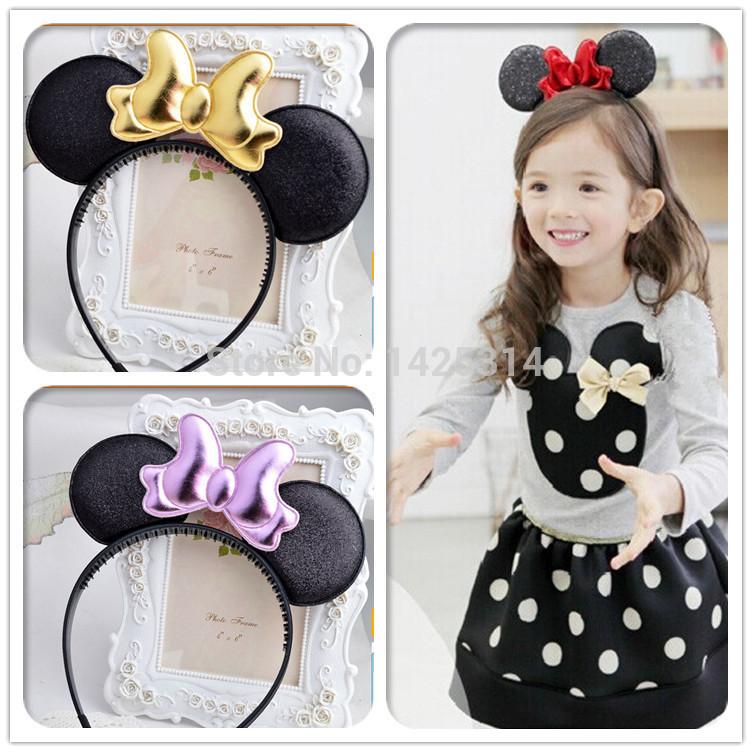Mickey Minnie Ears Lovely Baby Hair Clasp 3D Bow baby Headband Princess Baby girls Wild dance party tiara headbands 24pc/lot(China (Mainland))