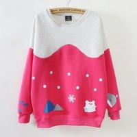 [Magic] Top Hot cotton hoodies women mix color Snowflake little cartoon Squirrel Whale women casual sweatshirt Big size 661