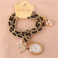 Korean New Fashion Leisure Love Heart Bracelet Watch,Luxury Women Casual Long Chain Butterfly Pendant Soft Leather Quartz Watch