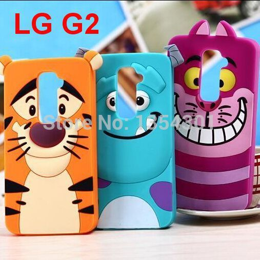 Case For LG G2 3D Cartoon Cat Dog Tiger Animal Monsters Sulley Tigger Marie/Alice Cat slinky Soft Silicone Cases Cover For LG G2(China (Mainland))