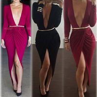 Women Bodycon Bandage Dress Sexy Club Wear Split Irregular Slim High-low Swallow Long Maxi Party Evening Dress