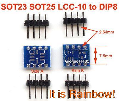 20pcs SOT23 SOT25 LCC-10 To DIP8 Adapter PCB Convertor(China (Mainland))