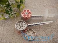 Wholesale 6pcs/lot  six shooter grinder Wtih pipe Rasta Metal Weed Pipe Smoking Pipe  Dropshipping
