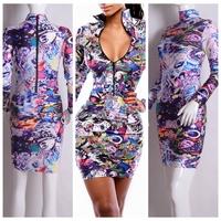 2015  hot-selling Fashion sexy dress print elastic women one-piece dress vestidos casual dress yh9045