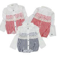 [April's] fashion girls clothing,spring kids blouse cotton blouse  children long sleeve srtipes lace blouse A13110