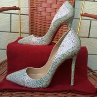 Hot Luxury white rhinestone crystal pointed toe 12cm 10cm 8cm straight high heel woman's wedding heel plus big size shoes pump