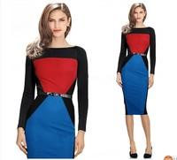2014 Fashion Women Autumn Work Elegant Patchwork Stretch Tunic Business Casual Office Formal   Party Pencil Sheath Dress