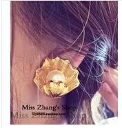 New fashion big imitation pearl shell earrings exaggerated retro palace Korean female jewelry earrings Free shipping E457