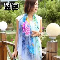 New scarf peony pattern decorative pattern faux silk women's silk scarf design long scarf fashion plus size cape