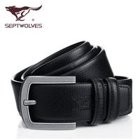 Septwolves men belt leather leisure cowhide wide belt Korean fashion pin buckle belt male genuine