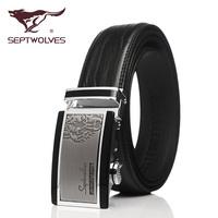 Automatic belt buckle leather goods Septwolves man pocket strip business men leisure fashion belt