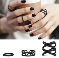 ZH1009 New Arrive 2014 Fashion punk black 3pcs/set women ring set Finger Band Midi Rings Jewelry