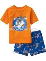 T01003 2015 New TOM design 100% Cotton Children's wear ,Baby short sleeve pajamas,Kids pyjamas boys girls sleepwear set 6set/lot