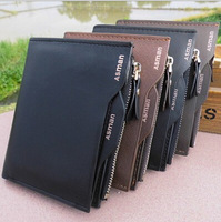 Free shipping  Genuine Leather Fashion Men's Wallet Male Short Design Cowhide Leather Wallet for Men Purse Casual Card Holder
