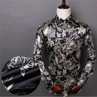 S4P0199 Men's Long sleeve Shirt 2015 Spring Clothing Shirt Men Long Sleeve Fit Flowers Shirt Emulation Silk Men's Shirts