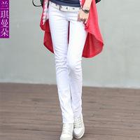 On Sale! Jeans woman new 2014 pencil jeans for women fashion women overalls blue jeans mid waist women's pants Cheap Price
