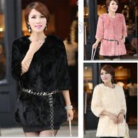 Elegant Women Winter Warm Faux Rabbit Fur Collar Coat Outwear Slim Jacket Green Overcoat Autumn Girl Lady Coats BYF472