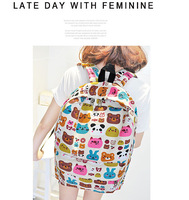 hot sale bear face printing female backpacks girl's bag  teenagers mochila  vans style canva student bag  printing school bags